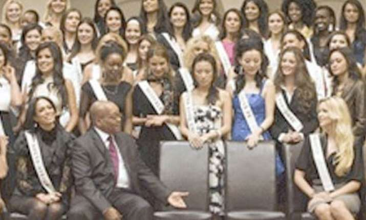 south african president meets miss world contestants