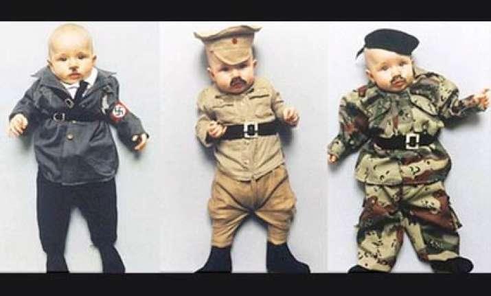 danish artist dresses up baby as hitler stalin and saddam