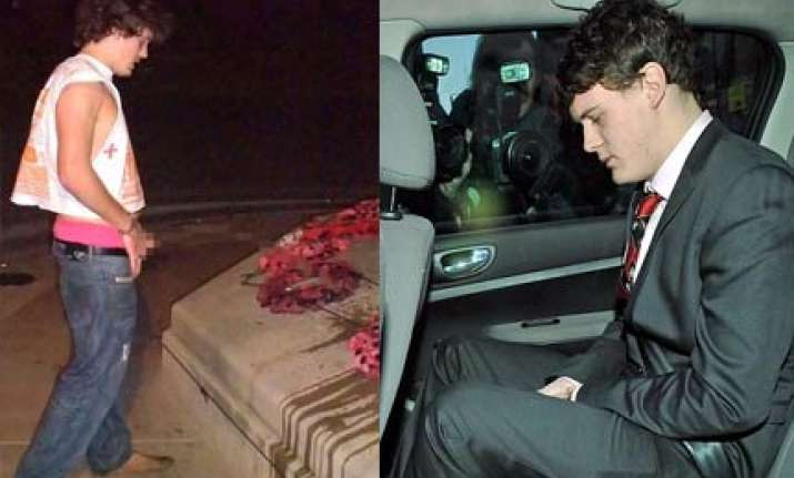 student who urinated on war memorial spared jail