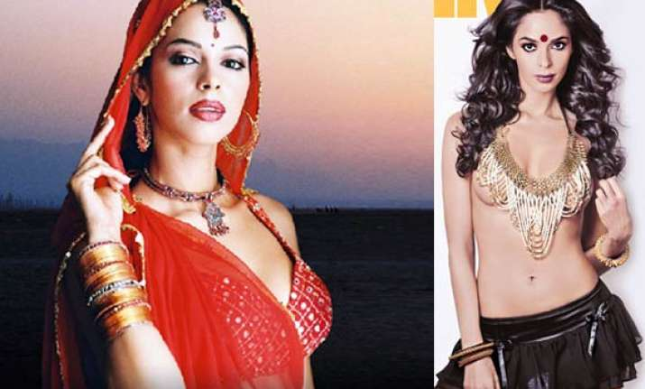 mallika goes topless with a bindi on cover page