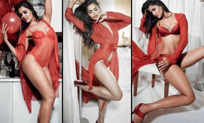 nathalia kaur turns temptress in red lingerie photoshoot