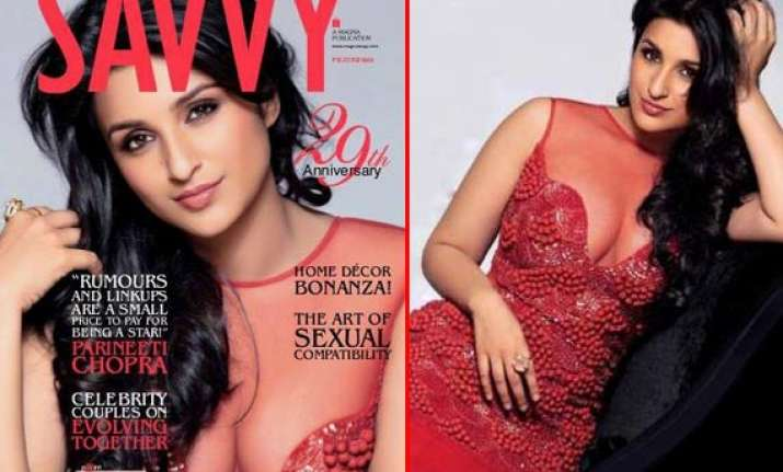 parineeti chopra flaunts cleavage for savvy cover watch pics