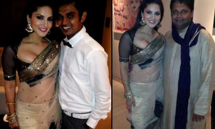 Sunny Leone Spotted In Hot Sari With Tina And Lolo Team View Pics