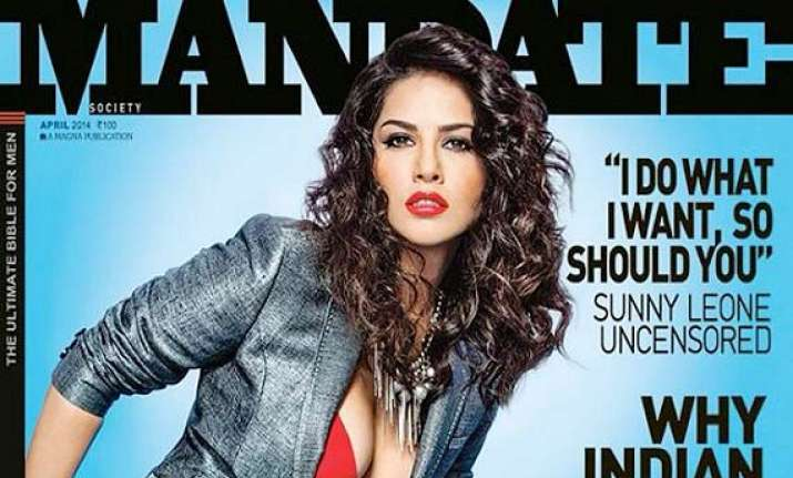 sunny leone wears red lingerie covers mandate magazine see