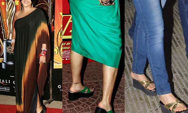 ekta kapoor goes for her green golden straps on old black