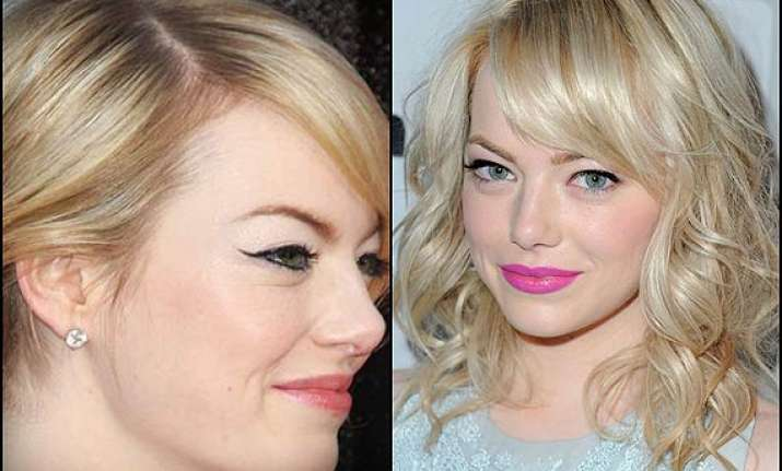 emma stone sports bangs see pics