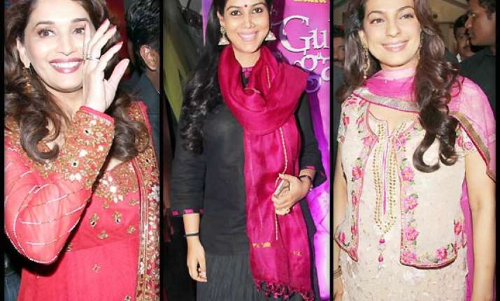 bollywood celebs go pink at gulab gang special screening