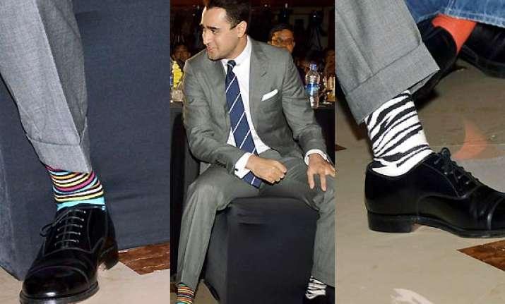 imran khan flaunts miss match pair of striped socks see pics