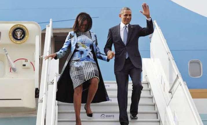 michelle obama arrives in indian american designer s