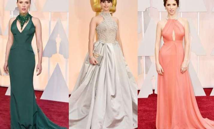 oscars 2015 high collars and demure gowns on the red carpet