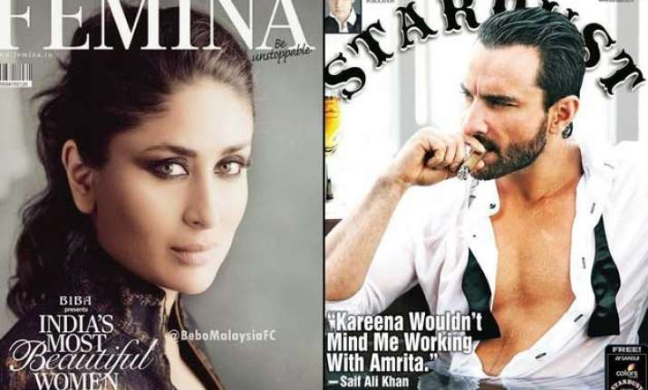 sensuous kareena rusty saif cover january issue of magazines