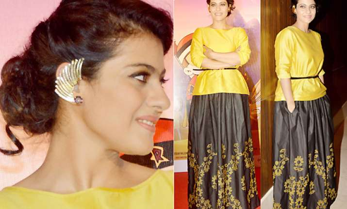 mighty mother kajol looks startling in golden ear cuffs see