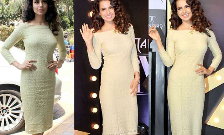 kangana ranaut looks dewy in lace dress at tanishq iva