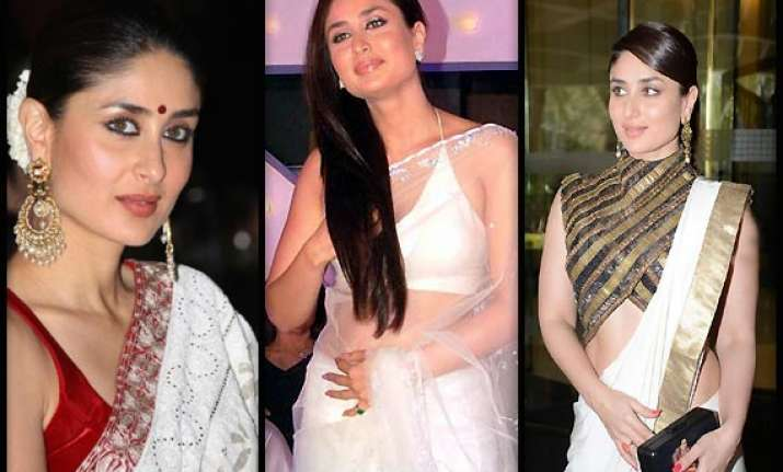 kareena kapoor s love for white sarees... check out her hot