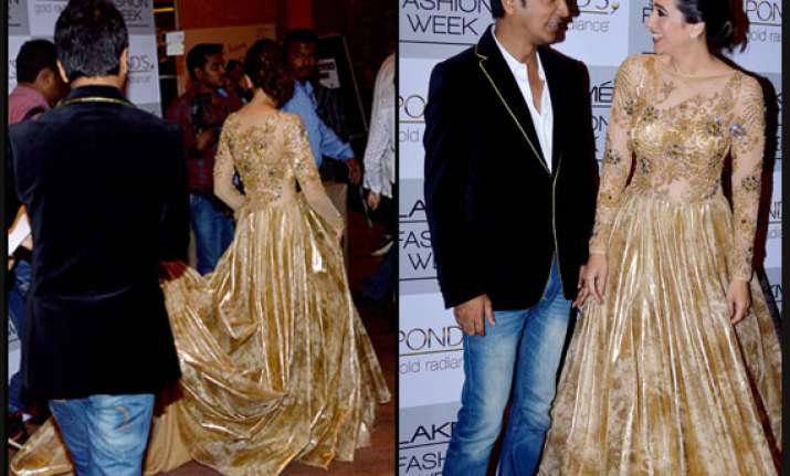 karisma dazzles in gold for vikram phadnis at lfw view pics