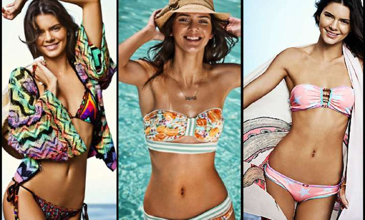 kendall jenner displays her curves for swimwear line view