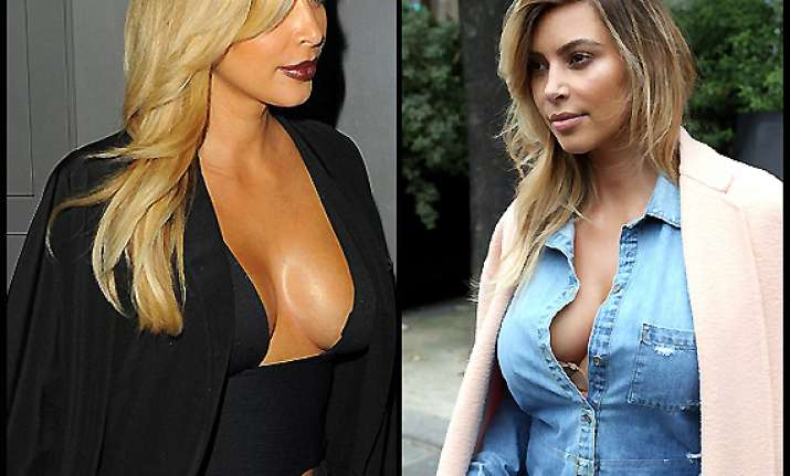 hottest mom of town kim kardashian flaunts bosoms see pics