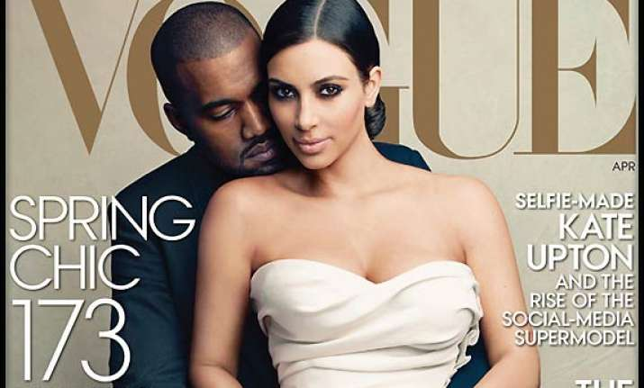 kim kanye become face of vogue s april edition view behind
