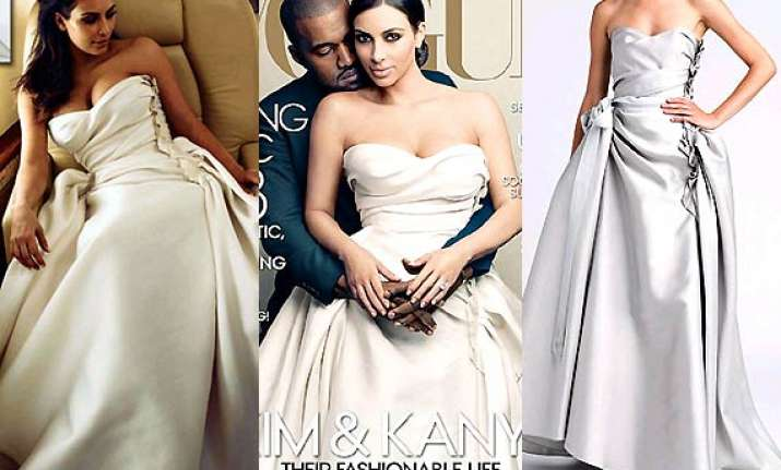 Kim Kardashian\'s grey Lanvin wedding gown in Vogue a hug hit! (see ...
