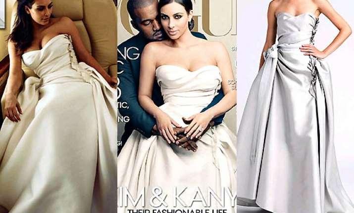 Kim Kardashian\'s grey Lanvin wedding gown in Vogue a hug hit! (see ...