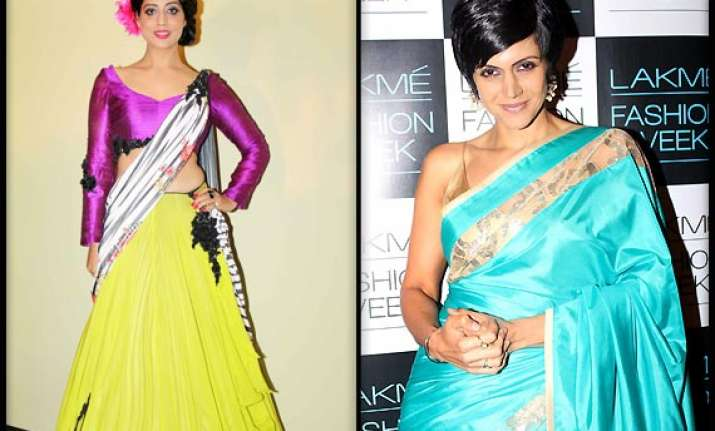 mandira mahie raise style quotient at lfw press conference