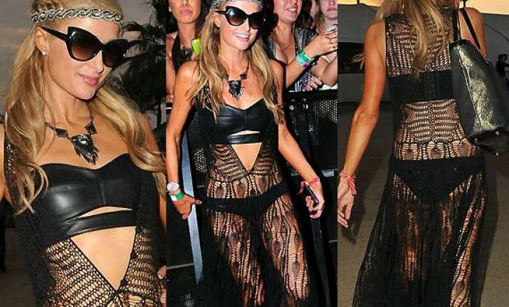 paris hilton dons hot leather bra at coachella festival