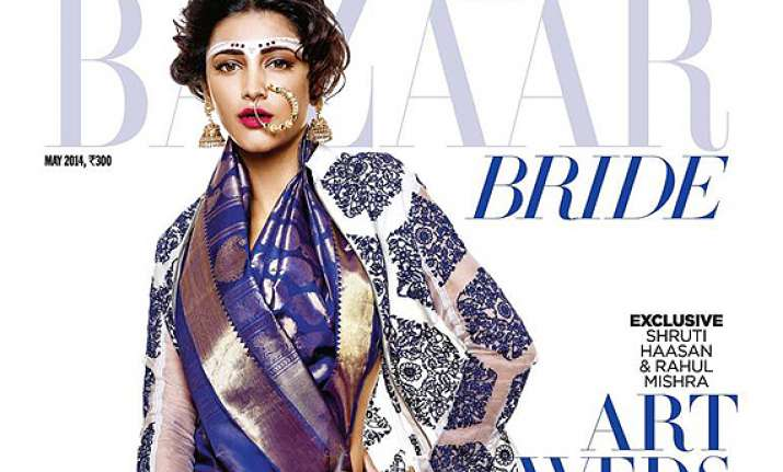 shruti haasan flaunts bridal look on harper s bazaar cover