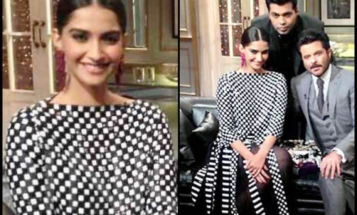 sonam kapoor dons marc jacobs gown for koffee with karan