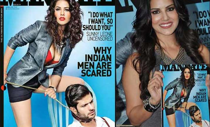 sunny leone looks sizzling in red lingerie on mandate cover
