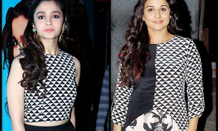 vidya balan vs alia bhatt divas caught sporting similar