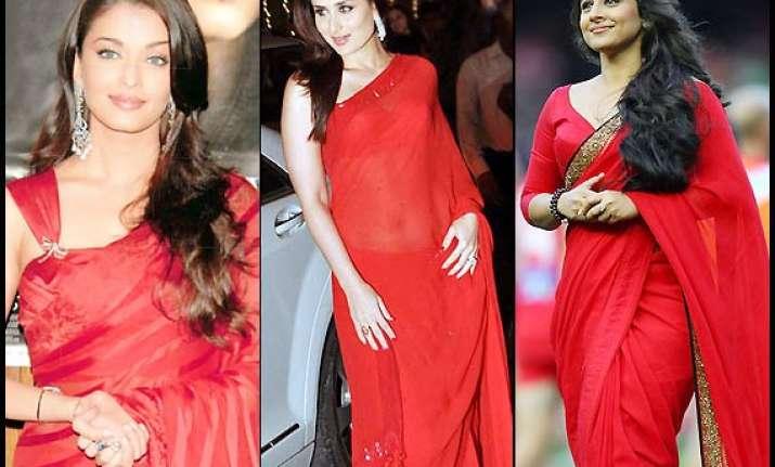 aishwarya vidya kareena s fetish for red saree see pics