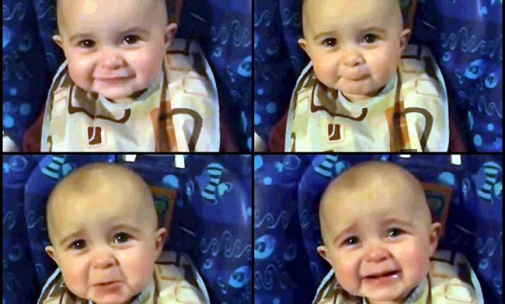 cute little baby goes emotional while listening to mother s