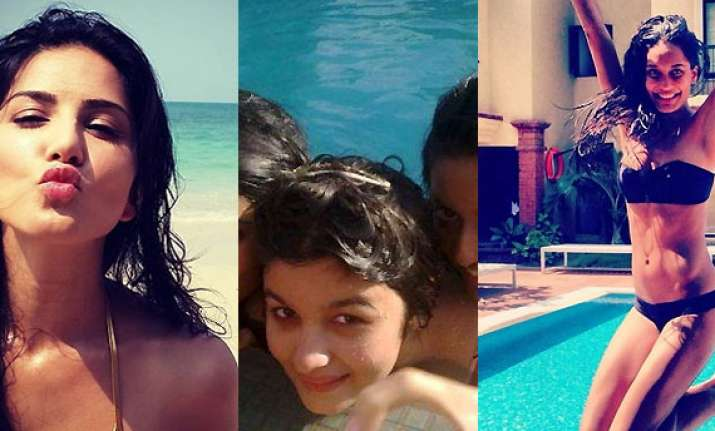 sunny leone alia bhatt lisa haydon beat the heat with beach