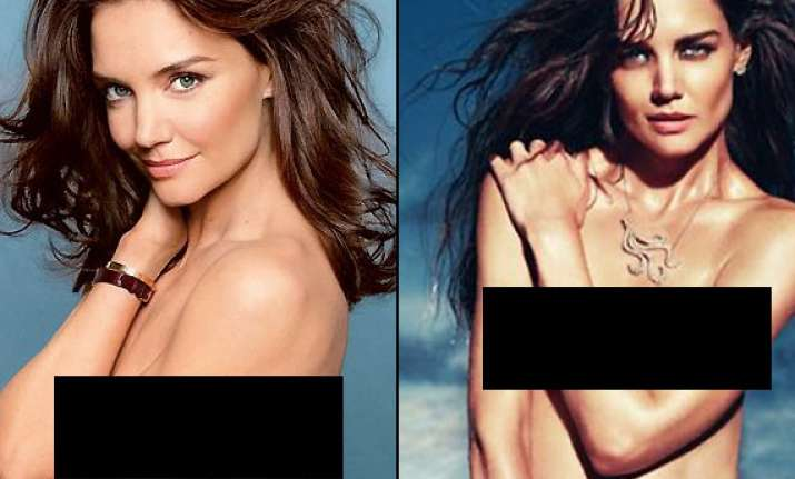 katie holmes goes topless poses for glamour magazine cover
