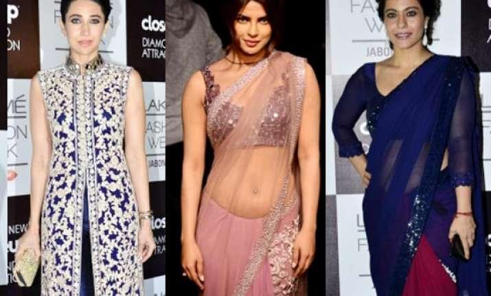 priyanka kajol karisma dazzle at manish malhotra s show see