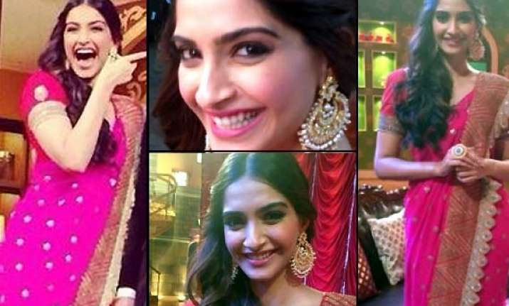 sonam kapoor steals the show in anamika khanna creation on