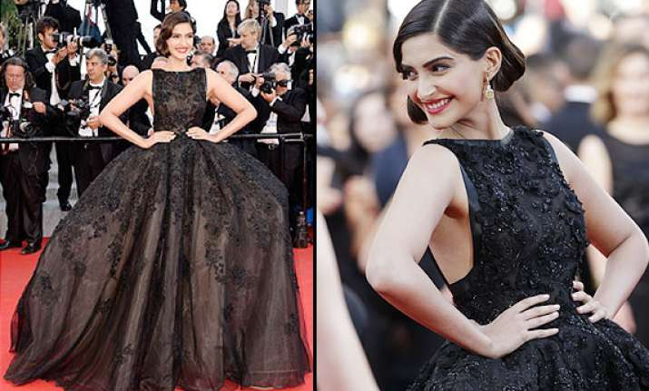 sonam looks breathtaking wears black elie saab gown at