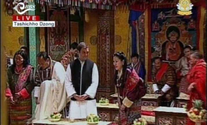 rahul gandhi only guest at bhutan royal reception