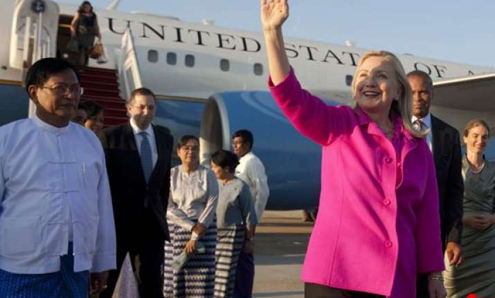clinton tests reforms on historic visit to myanmar
