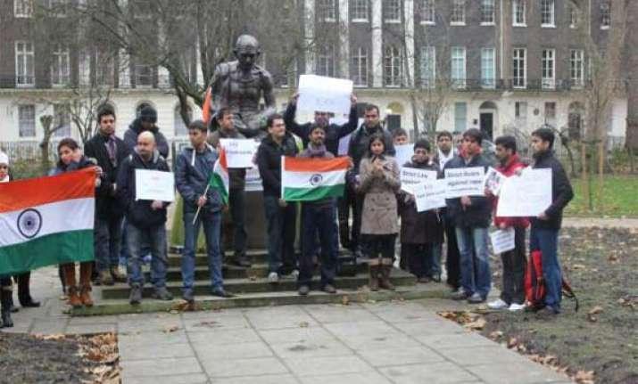 demonstration in london for delhi gang rape victim