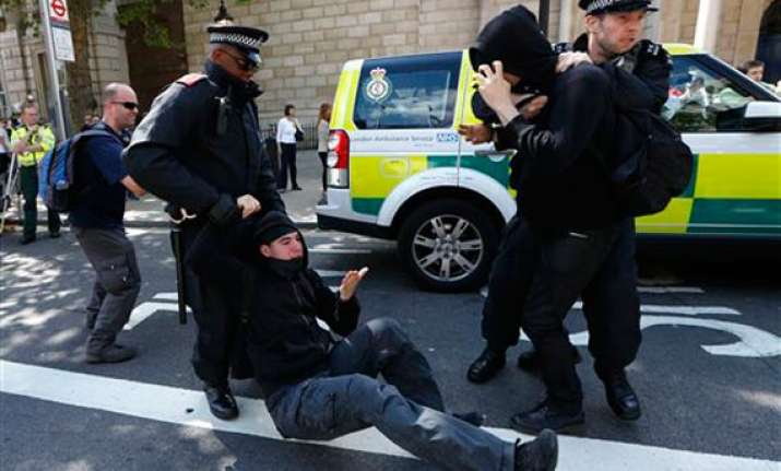 english defence league supporters clash with police in