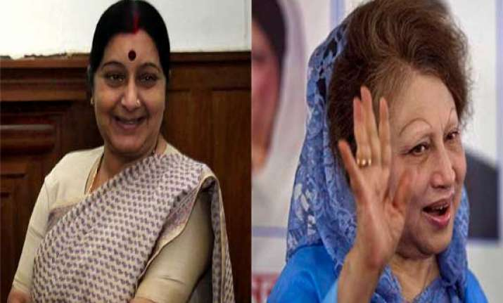 external affairs minister sushma swaraj meets bnp chief