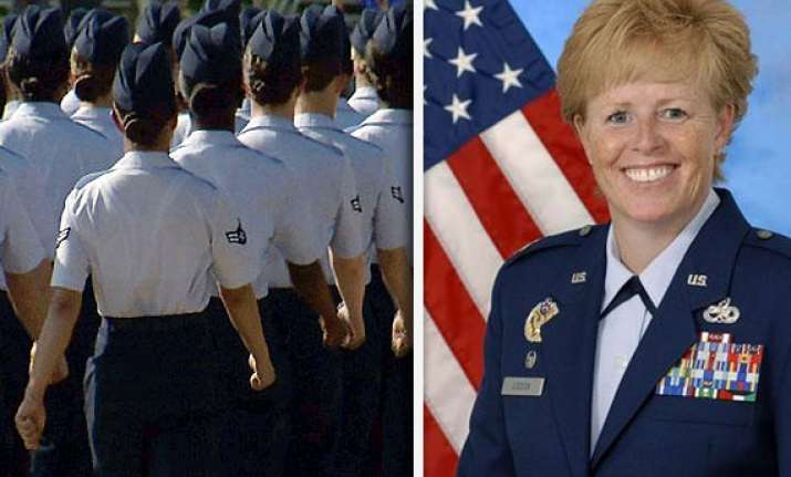 female officer leads us air force training