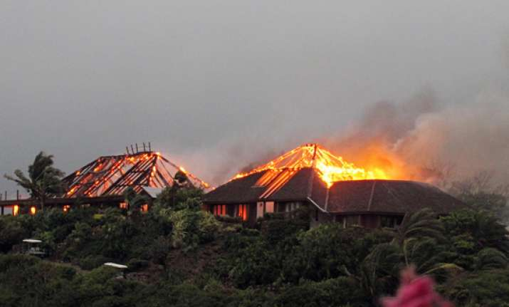 fire destroys richard branson s home in his private