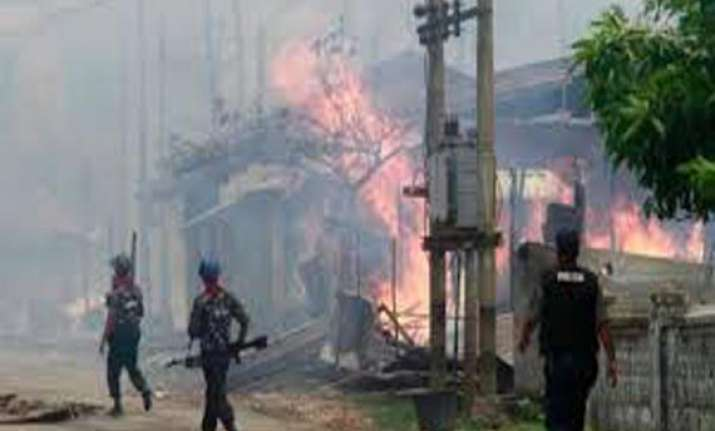 five dead mosque burned in buddhist muslim riots in myanmar