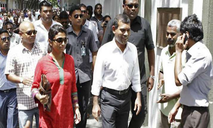 former maldivian president mohamed nasheed leaves indian