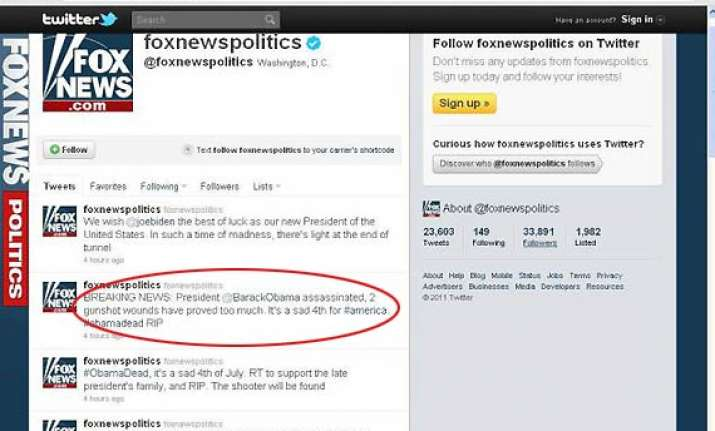 fox news twitter account hacked claims obama assassinated