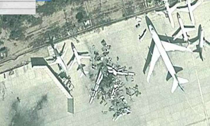 google maps satellite images show a plane blown to bits at