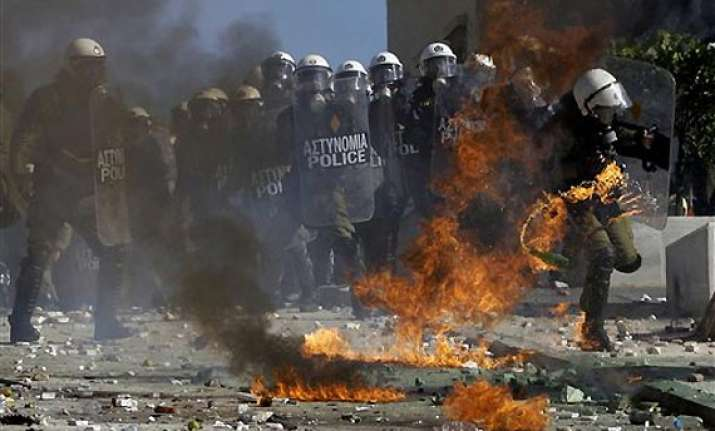 greek protests against austerity turns violent