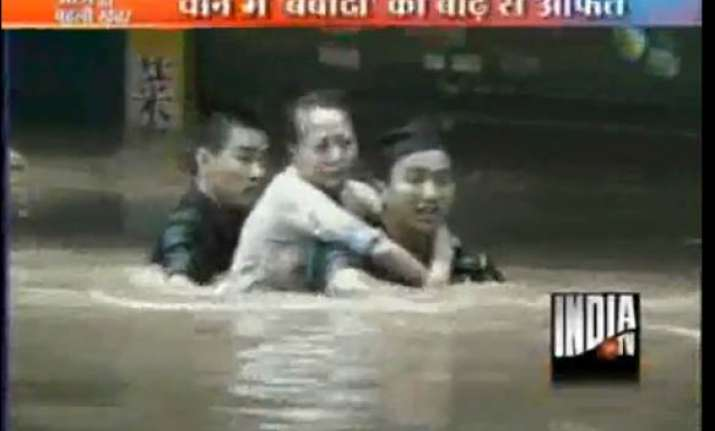 heavy rains cause floods in china
